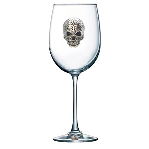 Skull Jeweled Stemmed Wine Glass -