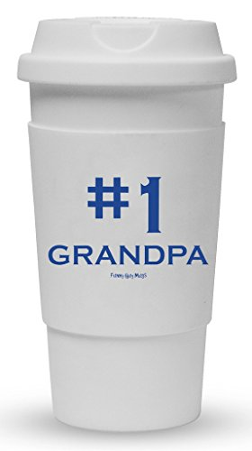 Funny Guy Mugs #1 Grandpa Travel Tumbler With Removable Insulated Silicone Sleeve, White, 16-Ounce (Mug 1 Grandpa)