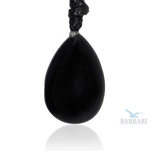 BARBARI Jewelry Black Onyx Crystal Necklace   Handmade Gift for Him and Her+ Free Organza Bag+ Free Gift! High Quality Natural Gemstone Pendant for Men and Women ()