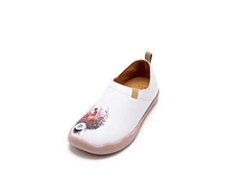 UIN Women's Memory Art Painted Leather Shoe Slip On White