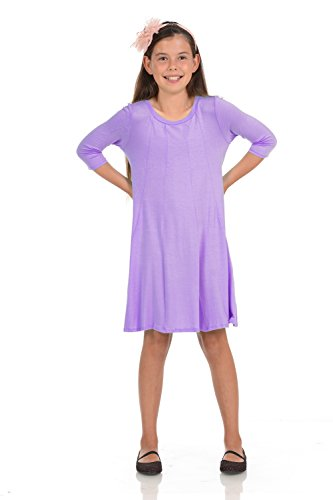 Honey Vanilla Girls' A-Line Trapeze Dress Large 9-10 Years Lavender ()