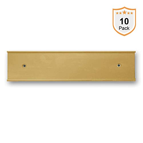 Nameplate Holder - Wall or Door - Gold 8 x 2-10 Pack - Made in The USA! (2x10 Holders Wall Name Plate)