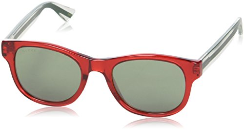 Gucci GG0003S 004 (Transparent Red - Transparent White with Green with Mirror effect - Sunglasses Gucci Mens White