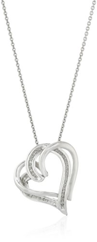 - Sterling Silver Diamond Double Heart Pendant Necklace (1/10 cttw), 18