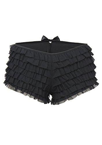 Leg Avenue Women's Plus Size Opaque Mesh Ruffle Boy Short With Satin Bow Accent, Black, 1X