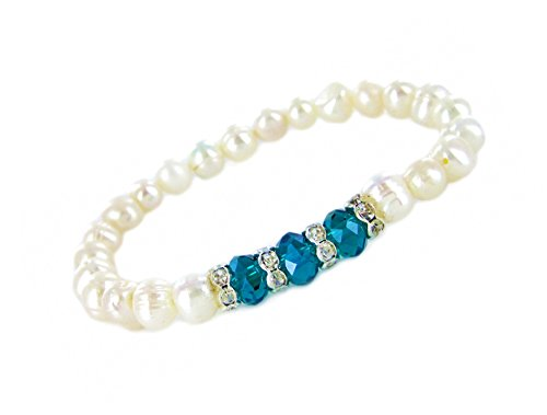 Linpeng Crystal Stretch Freshwater Cultured Pearls Birthstone Bracelet Turquoise