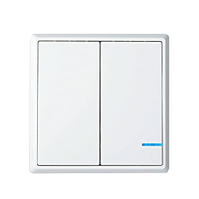 GREENCYCLE Home Accessaries Wireless White 2Gang On Off Anywhere Lighting Home Waterproof Control Wall Switch Set with Snap On Cover -Battery Include