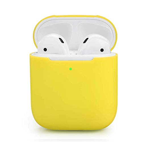 ZALU Compatible for AirPods Case, 0.8mm Ultra-Thin Version, Premium Protective Silicone Cover Skin for AirPods Charging Case 2 & 1 [Front LED Visible] [Wireless Rechargeable] (Yellow)