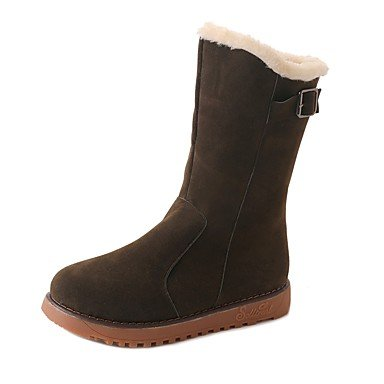 Fashion US5 Suede EU36 Round CN35 Shoes Boots For Winter UK3 Boots Brown Black Casual 5 Women'S Green Heel 5 Toe RTRY Flat xAanqUIUw