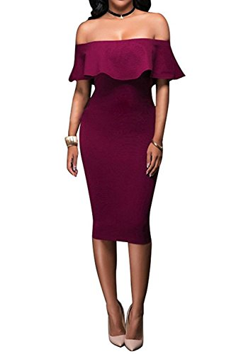 Wonderoy Women's Ruffles Off Shoulder Fitted Club Party Cocktail Bodycon Midi Dress S Burgundy (Strapless Cocktail Dress)