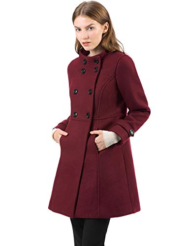 (Allegra K Women's Stand Collar Double Breasted Slant Pockets Trendy Outwear Winter Coat S Burgundy)