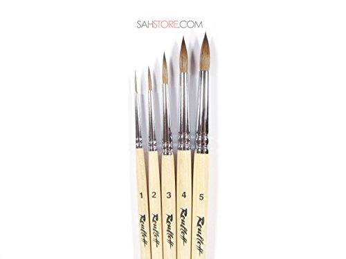 Roubloff KOLINSKY Sable Professional 5 Brush Set Varnished Wood Short Handle 1010 Watercolour Oil Gouache Acrylic Russian (Kolinsky Sable Watercolour Brush)