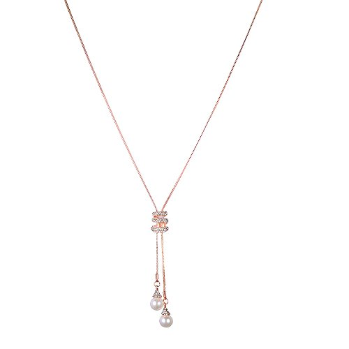 FEDULK Womens Luxury Crystal Pearls Pendant Charm Chain Jewelry Elegant Long Necklace Sweater(Rose Gold)