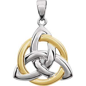 Jambs Jewelry 14K White & Yellow .004 CT Diamond Celtic-Inspired Trinity Pendant
