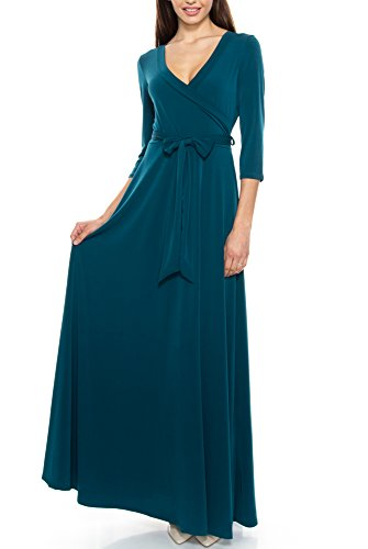 KLKD A122 Women's Solid Self-Tie Surplice Maxi Faux Wrap Dress Hunter Green X-Large (Surplice Wrap Dress)