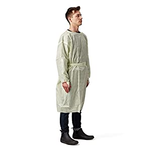 Disposable SMS Polypropylene Isolation Gown, with Elastic cuffs, Breathable, flexible, and fluid resistant. Professional Surgical gowns & Lab Coats. (10 Units, Large)