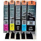 Genuine Canon PGI-250 (6497B001) CLI-251 (6513B004) Color (Black, Cyan,Magenta,Yellow) Ink Tank 5-Pack