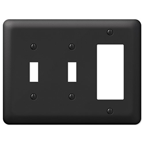 Single Rocker Combo (Black Stamped Steel Double Toggle Switch GFCI Rocker Wall Plate Cover Combo)