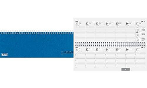 Baier & Schneider Querkalender Querterminbuch, 1 Woche/ 2 Seite, 297 x 105 mm, Karton, Blau, 2020