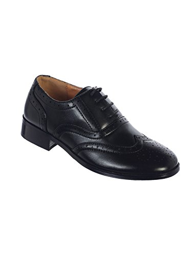 (Avery Hill Boys Lace-Up Formal Oxford Style Dress Shoes - BK Toddler 5)