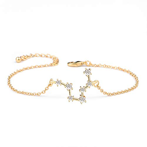(BOCHOI Constellations Gold Pisces Zodiac Sign Bracelet for Women Girls Bracelet Astrology Horoscope CZ Jewelry for Mother Daughter BFF Bridesmaid Birthday Gift Adjustable Chain 7+1