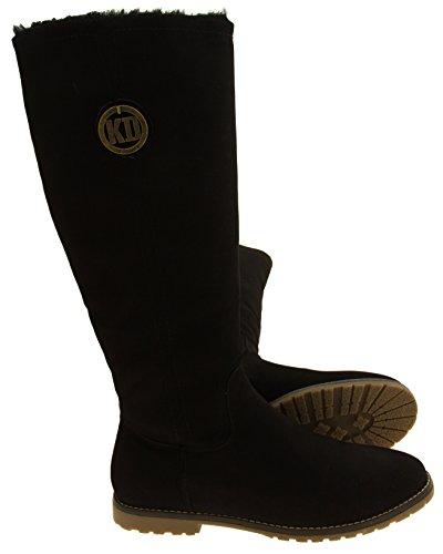 Para mujer Keddo Faux suede caliente invierno rodilla botas altas Negro