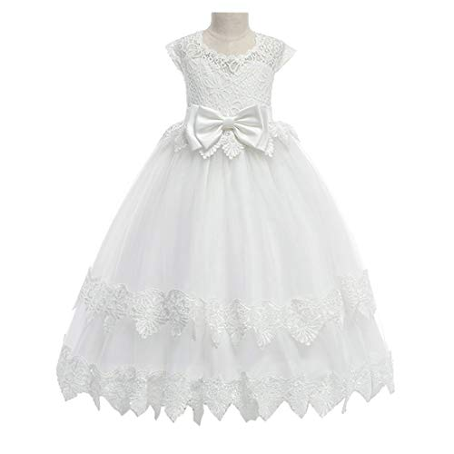 (Ball Gown for Girls Prom Dress Embroidered Kids Princess Dress White Wedding First Communion Dresses Lace Long Dresses for Girls 7t 8t)