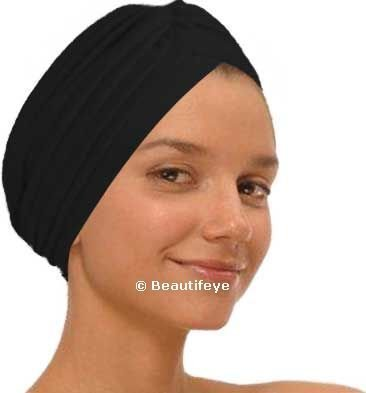 Black Fashion Turban Funky Headwrap, Ideal For Hair Loss, Chemo Or Fashion Use by