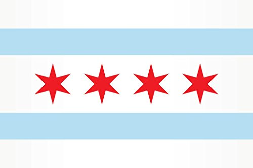Chicago City Flag Mural Giant Poster 36x54 inch -