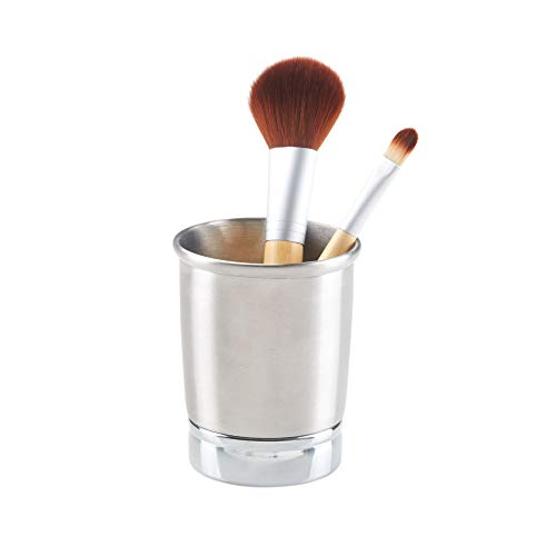 InterDesign York Metal Tumbler, Makeup Brush Toothbrush Holder for Bathroom, Countertop, Desk, Dorm, College, and Vanity, 3.25