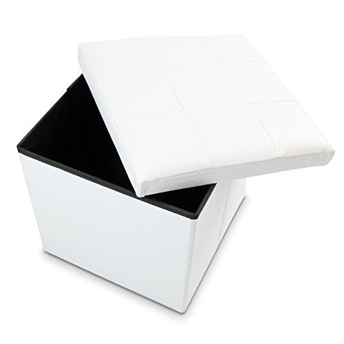 VENKON - Faltbarer Sitzwürfel mit Aufbewahrungsfunktion Sitzhocker - Kunstlederbezug - 38 x 38 x 38cm - weiß