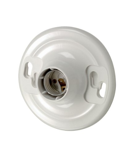 Leviton 8829-CW1 One-Piece Urea Outlet Box Mount, Incandescent Lampholder, White (Garage Light Fixture With Outlet)