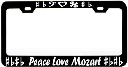 Teisyouhu Peace Love Mozart Music Instrument Decoration License Plate Frame Holder Auto Tag for Women Men Vanity Tag for US CA Vehicles ()