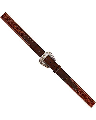 (Roper Men's Hand-Tooled Floral Silver Buckle Belt Natural 40)