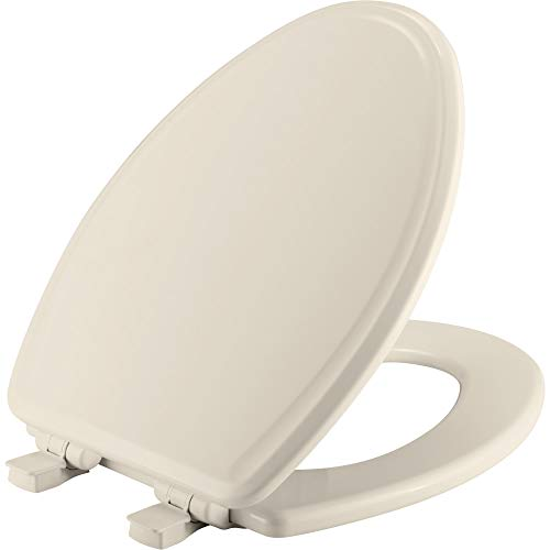 - CHURCH 685E3 346 Toilet Seat will Slow Close and Never Come Loose, ELONGATED, Durable Enameled Wood, Biscuit/Linen