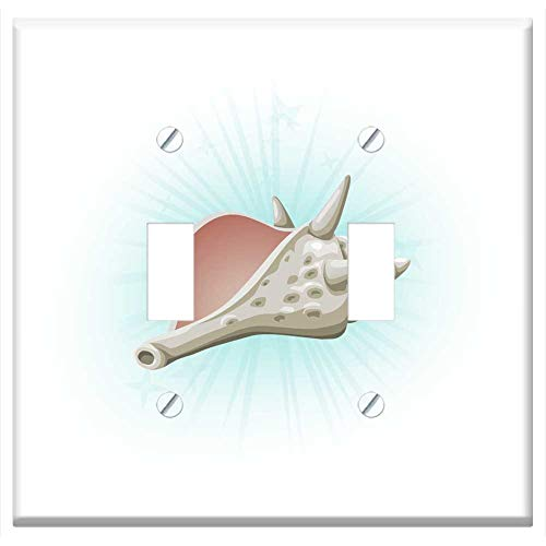 (Switch Plate Double Toggle - Seashell Conch Shell Dead Marine Aquatic Animal)