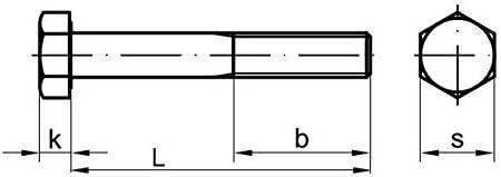 2 Stk DIN 960 Sechskantschraube M16x1,5x100 Feingewinde mit Schaft Stahl verzinkt