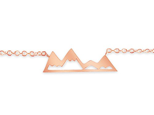 Rosa Vila Mountain Bracelet for Outdoor Lovers, Hikers, Skiers, Snowboarders, Hiking Enthusiasts, Snow Mountain Lovers (Rose Gold Tone) (Colorado Charm Rockies)