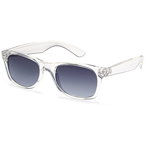 GAMMA RAY UV400 52mm Adult Classic Style Sunglasses – Gray Lens on Clear - Clear Optics