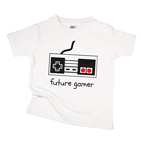 The Spunky Stork Future Gamer Organic Cotton Toddler T Shirt (18-24M) White