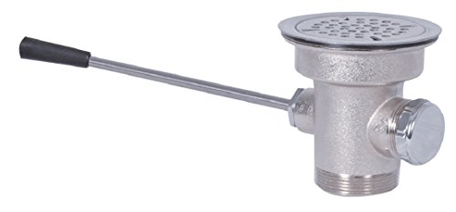 BK Resources BK-SLW-3 Chrome Plated Brass Straight Handled Lever Drain with Overlfow & Stainless Steel Strainer