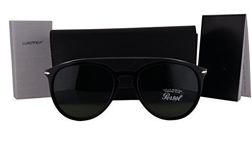Persol PO3159S Sunglasses Black Silver Gray w/Green Lens 901431 PO - 3019s Polarized Persol