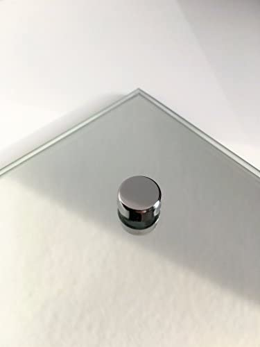 Waterstone Mirrors & Frames LTD 60 x 45cm Rectangle Bathroom Mirror Glass with Pre Drilled Holes & Chrome Cap Wall Hanging Fixing Kit Hardware