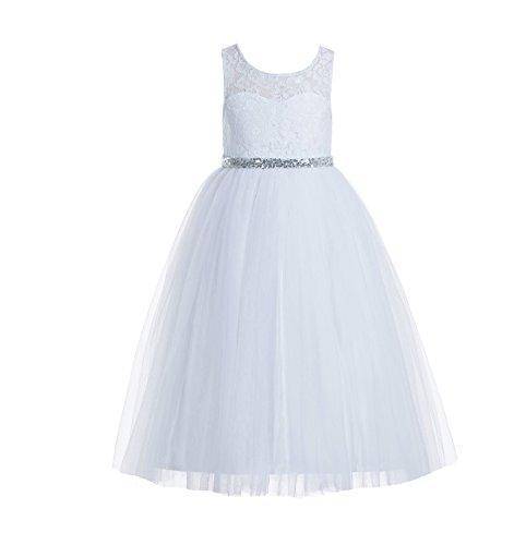 ekidsbridal Floral Lace Scoop Neck A-Line White Flower Girl Dresses Keyhole Back Communion Dresses Pageant Dress 178 6 ()