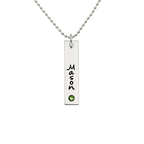 AJ's Collection Personalized Rectangle Nametag Sterling Silver Necklace With Birthstone Setting. Customize a Rectangle Charm. Choice of Sterling Silver Chain For All. Makes Great Birthday Gift. ()