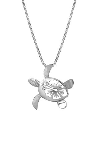 Sterling Silver Turtle and Hibiscus CZ Necklace Pendant with 18