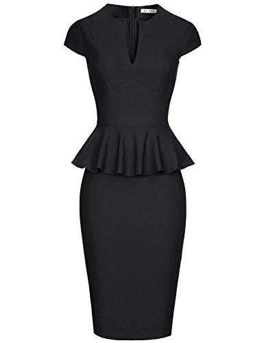 MUXXN Ladies Formal Cap Sleeve Vintage Peplum Mid Length Bridesmaid Party Dress (Black M) ()