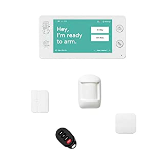 Cove 5 Piece Wireless Home Security System with 24/7 Professional Monitoring Trial, No Contracts — Touch Screen Panel, Door/Window Sensor, Motion Sensor, Flood Sensor, Key Remote