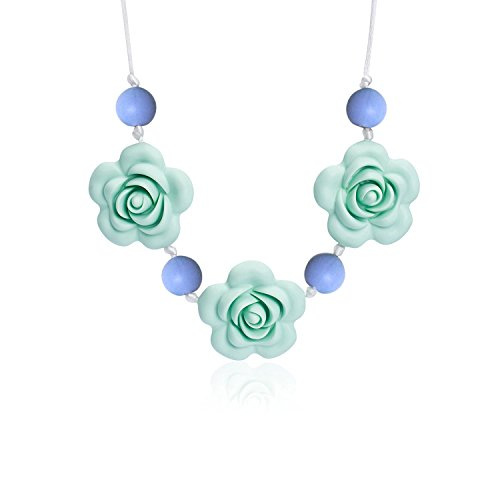 ANGBEIER Silicone Teething Necklace - Baby Safe for Mom to Wear - BPA Free Chew Beads - Stylish&Natural (PSN11-PM)
