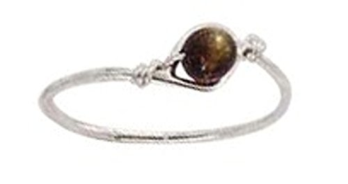 Sterling Silver Tiger Eye Bead Wire Ring Size 5 (Bead Sterling Tiger Silver Eye)